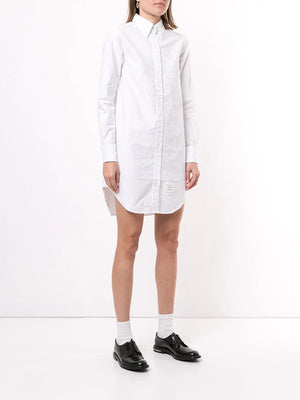 THOM BROWNE WOMEN CLASSIC LONG SLEEVE BUTTON DOWN POINT COLLAR THIGH LENGTH SHIRTDRESS IN OXFORD W/ GG LOOP