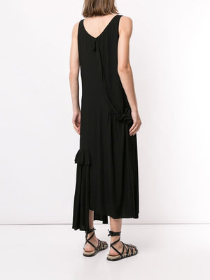 YOHJI YAMAMOTO NOIR WOMEN GATHER SLEEVELESS DRESS