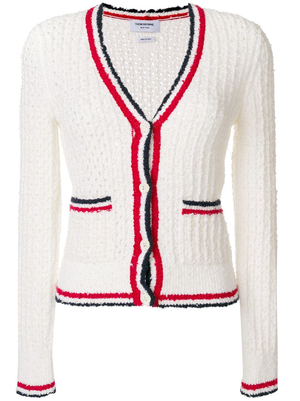 THOM BROWNE WOMEN OPEN STITCH V NECK CARDIGAN W/ STRIPE IN MERNIO WOOL BOUCLE BLEND