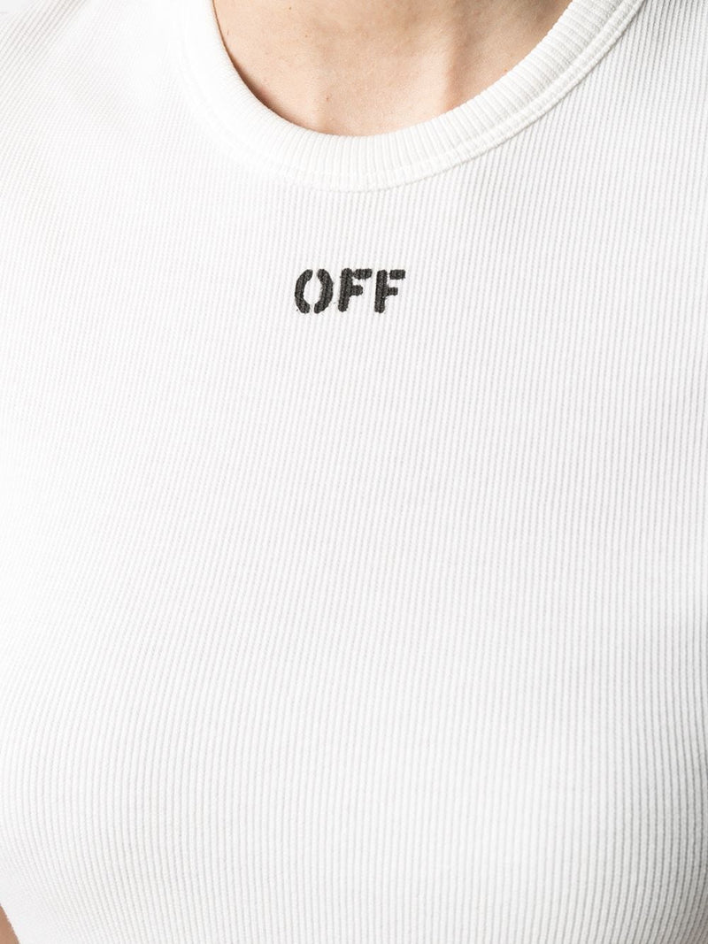OFF-WHITE WOMEN RIBBED BASIC T-SHIRT