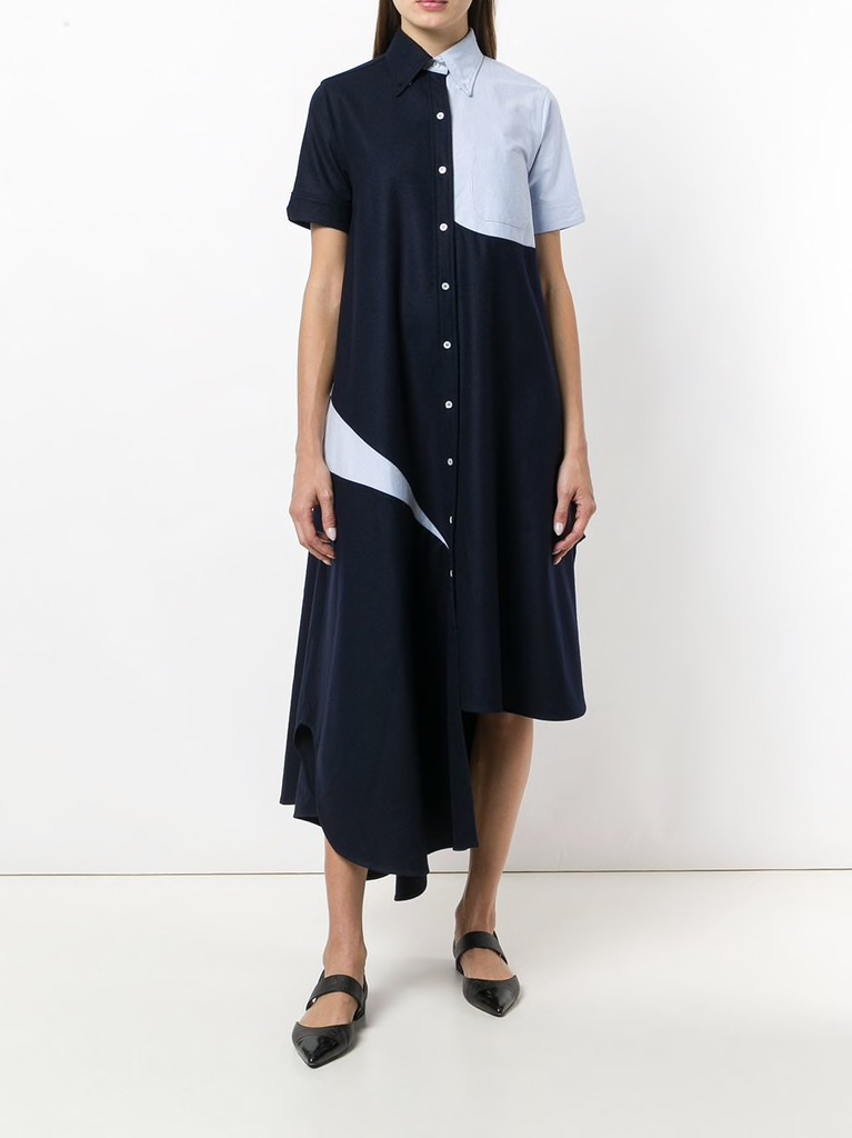 THOM BROWNE WOMEN SLASHED SHIRTDRESS WITH OXFORD IN FLANNEL