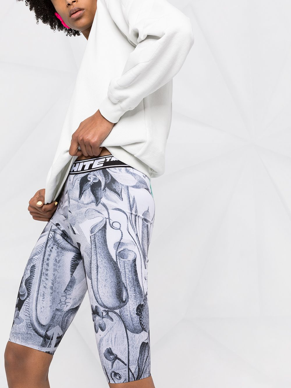 OFF-WHITE ATHLETIC BOTANICAL CYCLE SHORTS