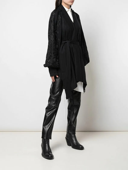 ANN DEMEULEMEESTER WOMEN EMBROIDERY SLEEVE WRAP TOP