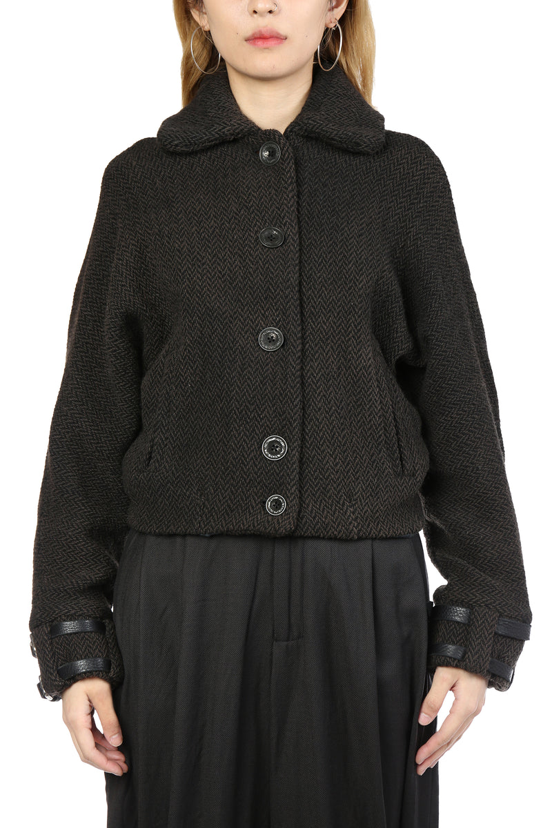 GEOFFREY B SMALL WOMEN CROPPED DOLMAN SLEEVE MODIFIED B-3 BOMBER JACKET WITH LEATHER CUFF CINCH