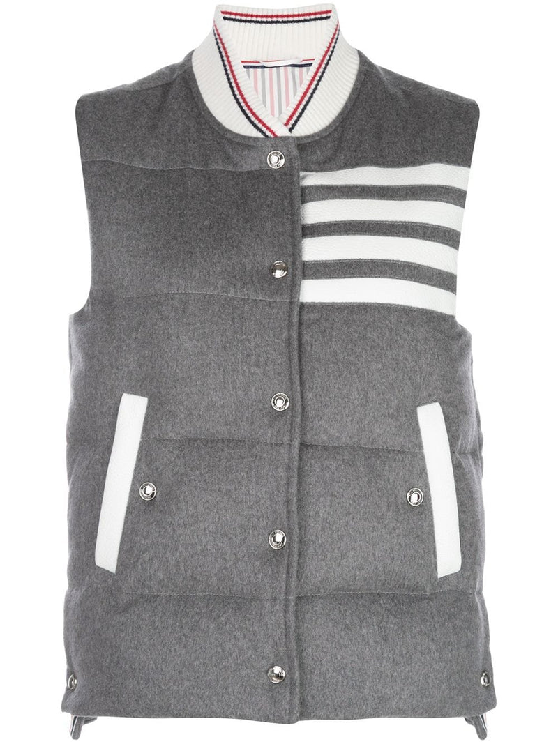 THOM BROWNE WOMEN 4 BAR DOWNFILL SNAP FRONT VEST IN JACKET WEIGHT CASHMERE