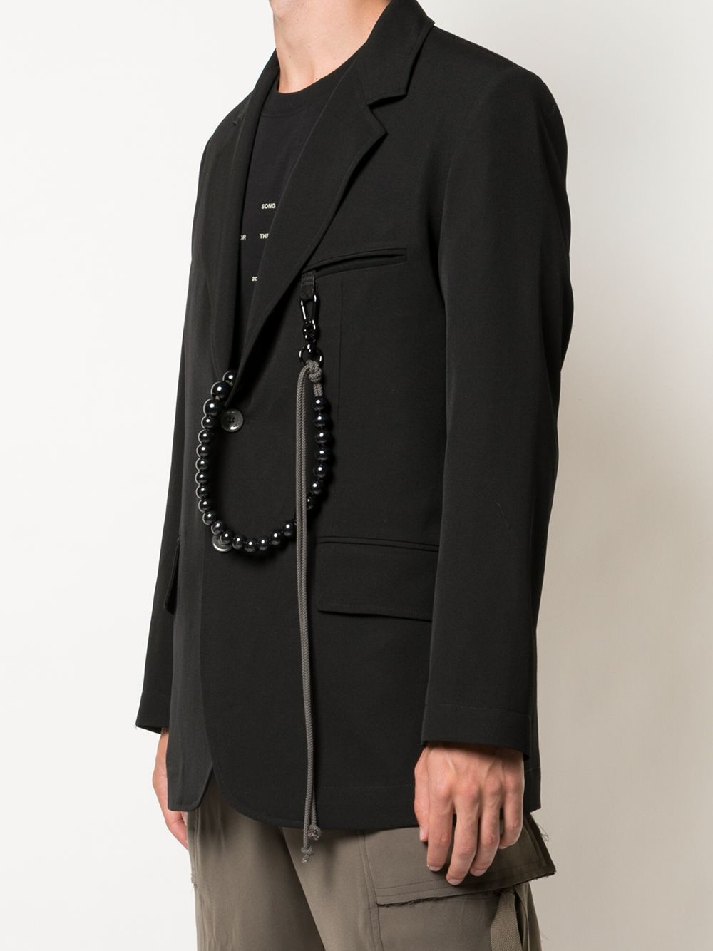 SONG FOR THE MUTE MEN SCRIPT OVERSIZED BLAZER