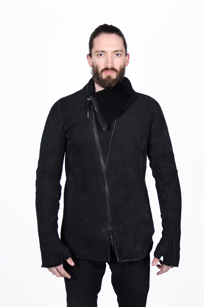 LEON EMANUEL BLANCK DISTORTION STRAIGHT JACKET IN SHEARLING W/ GLOVES