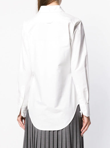 THOM BROWNE WOMEN CLASSIC LONG SLEEVE BUTTON DOWN POINT COLLAR SHIRT W/ TORTOISE SHELL GLASSES SEQUIN APPLIQUE IN OXFORD