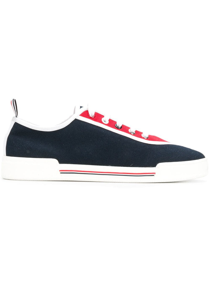 THOM BROWNE WOMEN TRAINER W/ RUBBER CUPSOLE & 4 BAR PAPER LABEL IN CANVAS