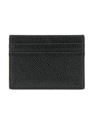 THOM BROWNE DOUBLE SIDED CARD HOLDER WITH RWB GG INSTARSIA STRIPE IN PEBBLE GRAIN & CALF LEATHER