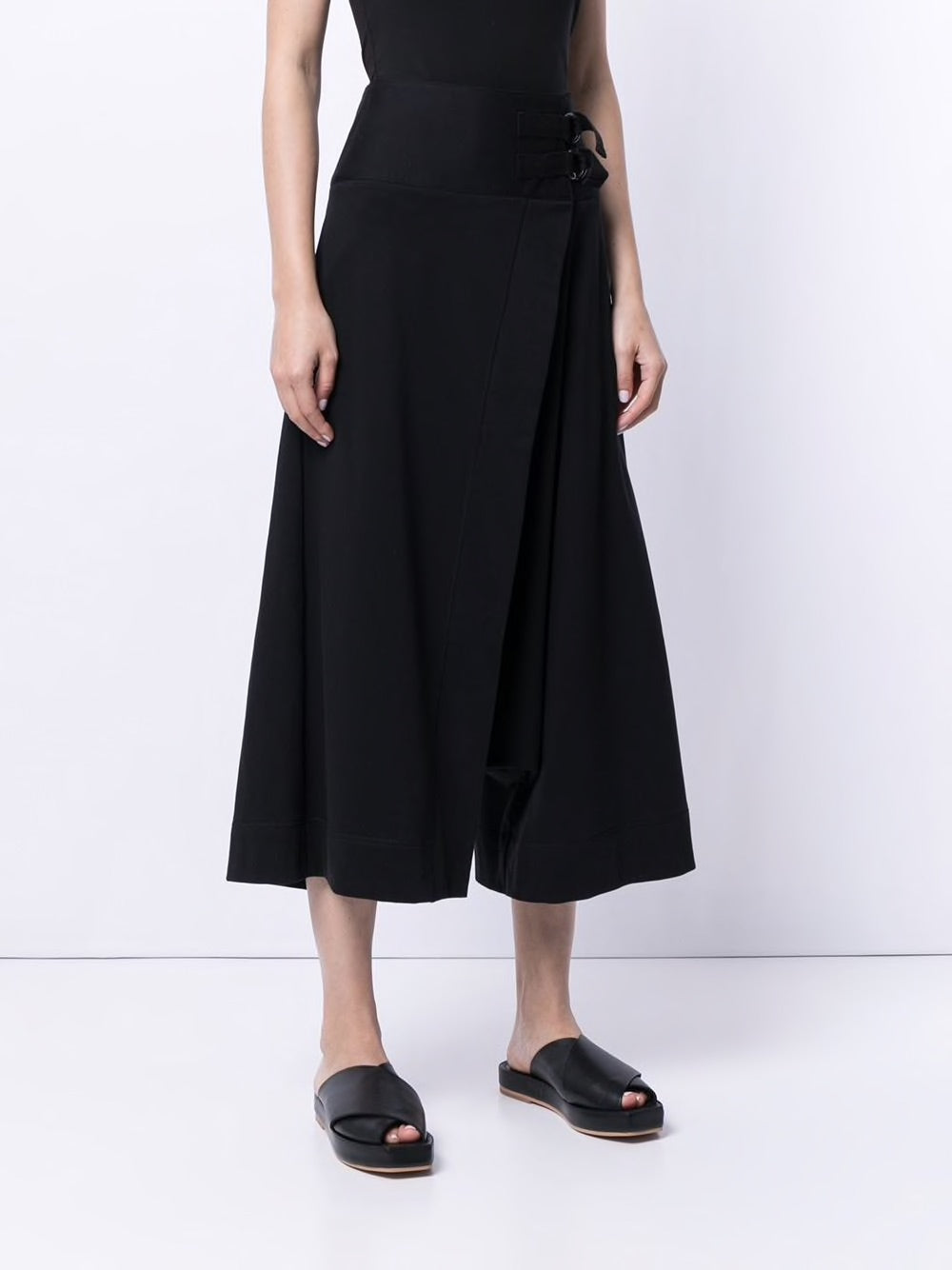 Y'S WOMEN BELT DESIGN WIDE PANTS