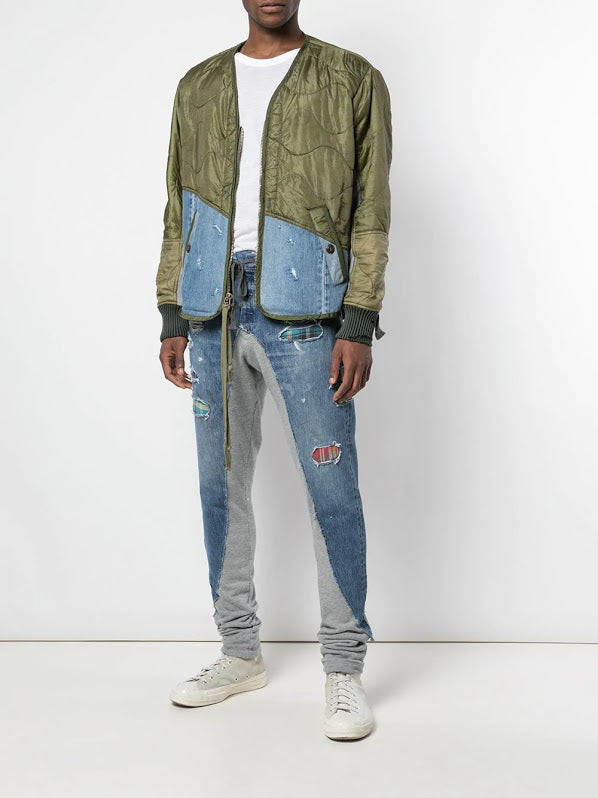 GREG LAUREN MEN 50/50 LONG SLIM GREY FLEECCE PATCHWORK DENIM