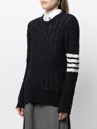 THOM BROWNE WOMEN RELAXED FIT CREWNECK 4 BAR PULLOVER IN OPEN TUCK STITCH W/ CABLES BOUCLE MERINO AND COTTON