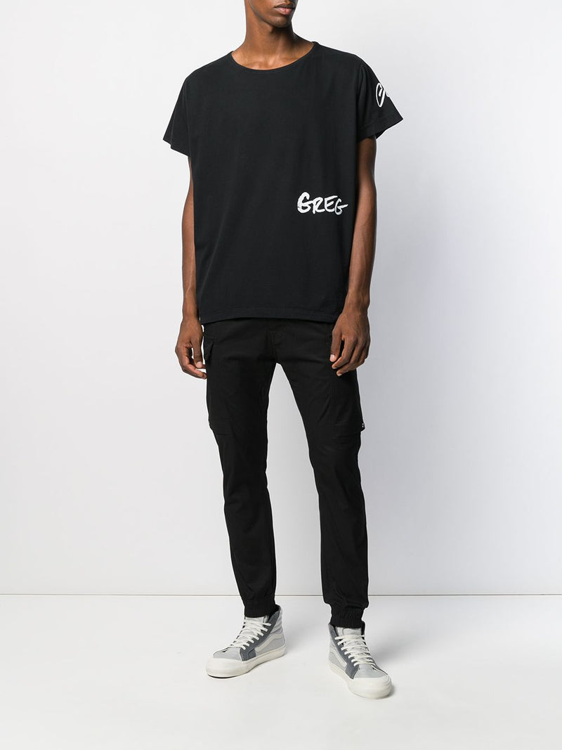 GREG LAUREN MEN BLACK DECONSTRUCTED GL TEE