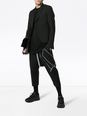 RICK OWENS MEN EMBROIDEERED DRAWSTRING CROPPED PANTS