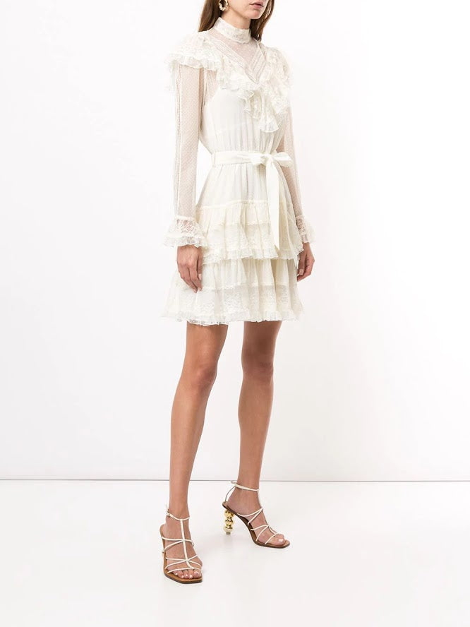 ZIMMERMANN WOMEN GLASSY FRILLED LACE MINI DRESS