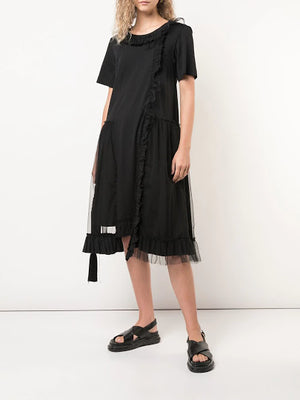 SIMONE ROCHA WOMEN T-SHIRT DRESS WITH TULLE LAYER AND BEADED TRIM