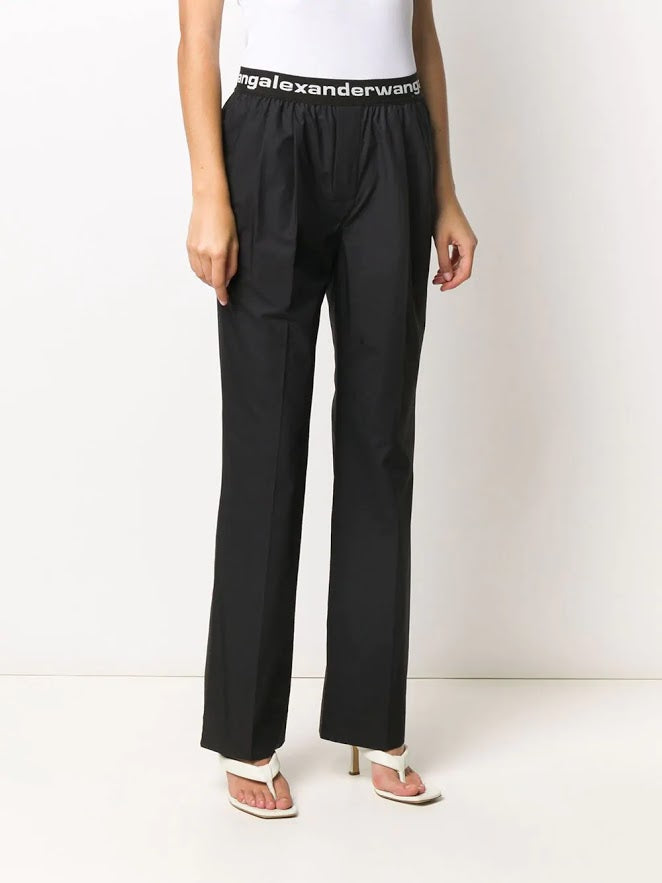 T BY ALEXANDER WANG WOMEN PULL-ON PLEATED PANTS WITH LOGO ELASTIC