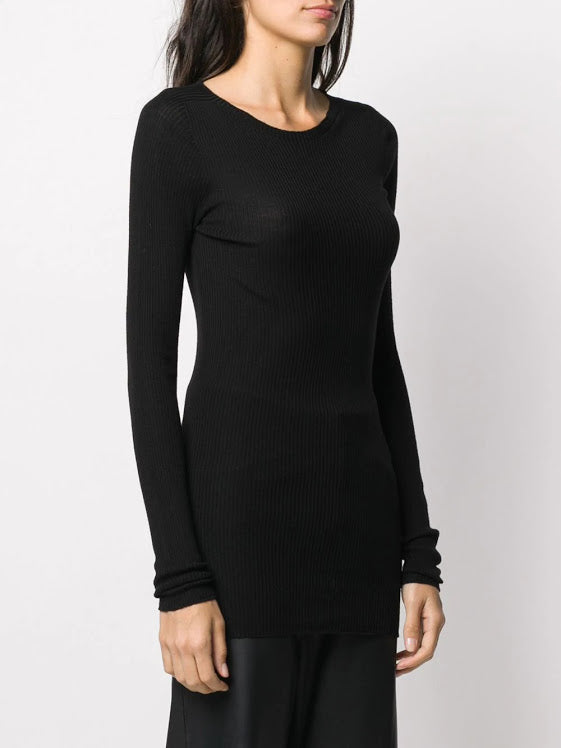 RICK OWENS WOMEN RIBBED ROUND NECK SWEATER