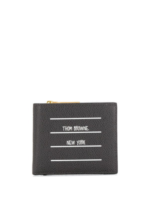 THOM BROWNE BILLFOLD WITH FOLD OUT HALF ZIP COIN PURSE IN INVERTED TBNY PAPER LABEL PRINTED PEBBLE GRAIN