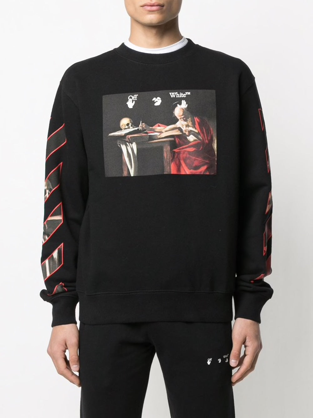 OFF WHITE MEN CARAVAGGIO SLIM CREWNECK