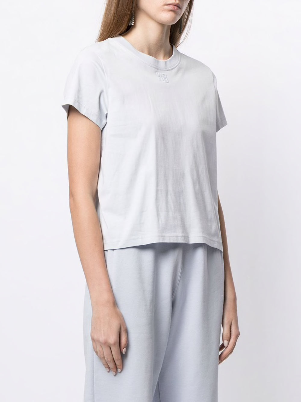 T BY ALEXANDER WANG WOMEN FOUNDATION JERSEY SHRUNKEN TEE W/PUFF PAINT LOGO