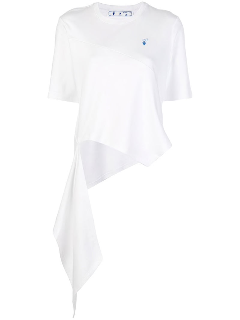 OFF WHITE WOMEN LOGOS SPIRAL DRAPING T-SHIRT