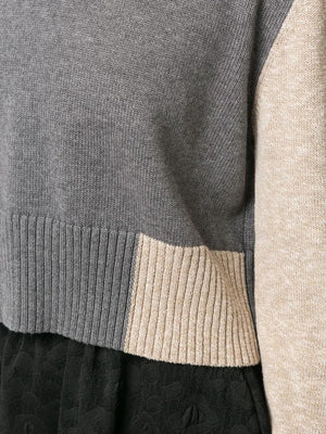 MM6 WOMEN COLOR BLOCK CROPPED SWEATER