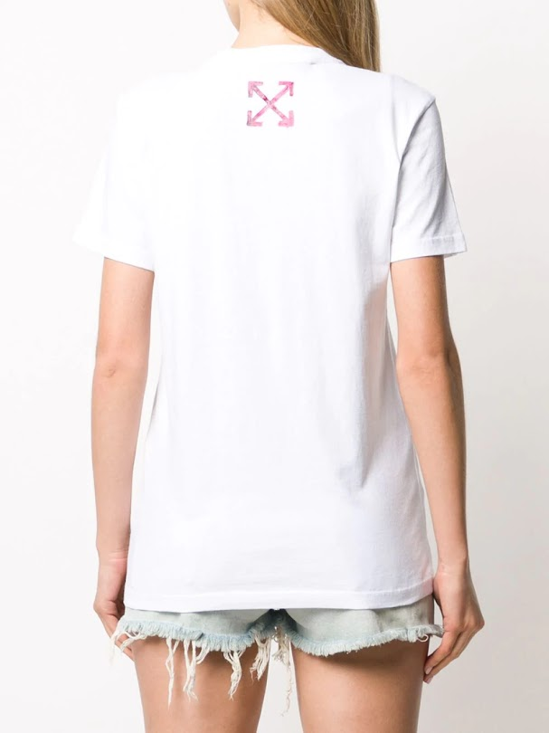 OFF-WHITE WOMEN PAINTED ARROW CASUAL TEE WHITE FUCHSIA