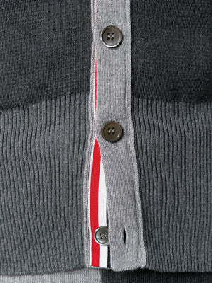 THOM BROWNE MEN FUNMIX MILANO STITCH V NECK CARDIGAN WITH SHETLAND 4 BAR IN FINE MERINO WOOL