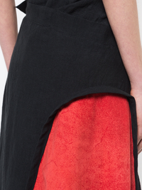 YOHJI YAMAMOTO WOMEN LEATHER PANELED SKIRT