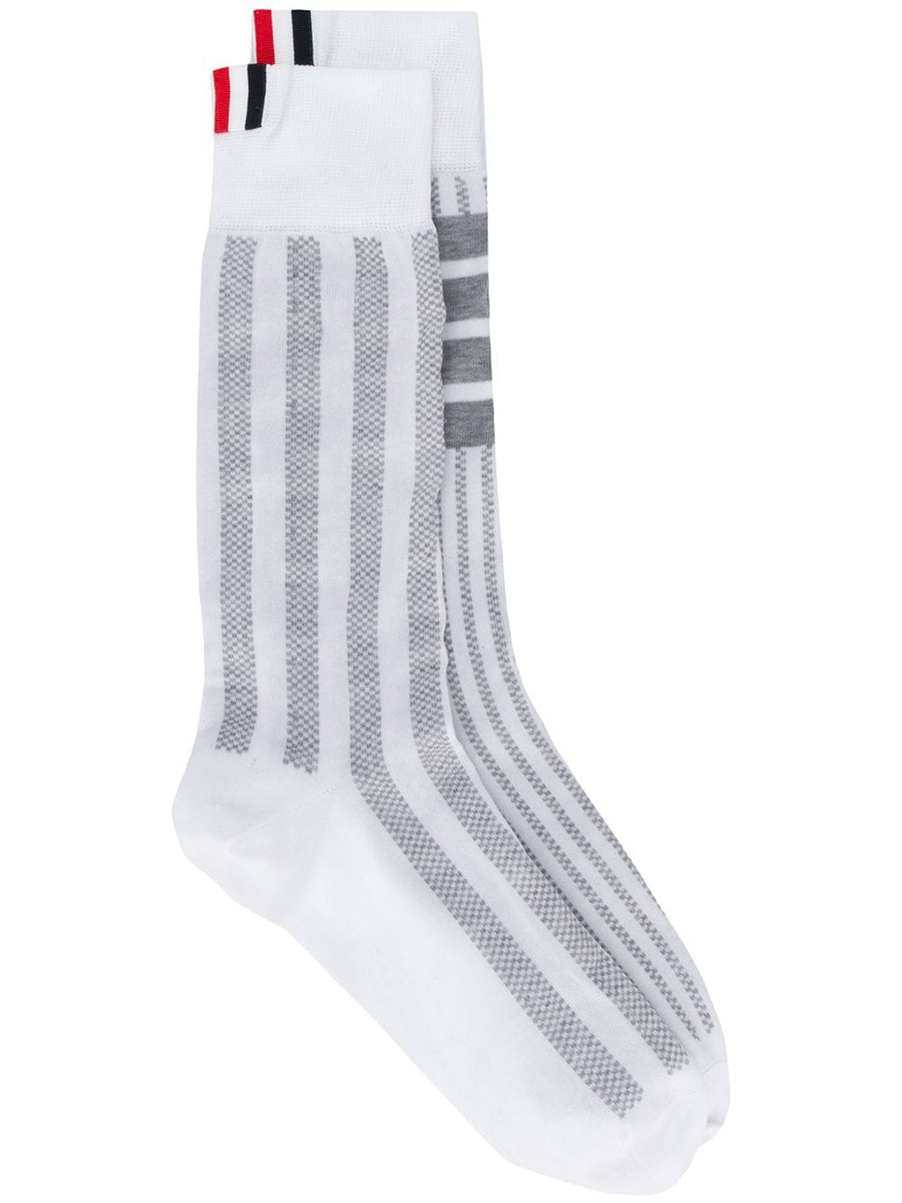 THOM BROWNE WOMEN FUN MIX SEERSUCKER MID CALF SOCKS IN LIGHTWEIGHT COTTON