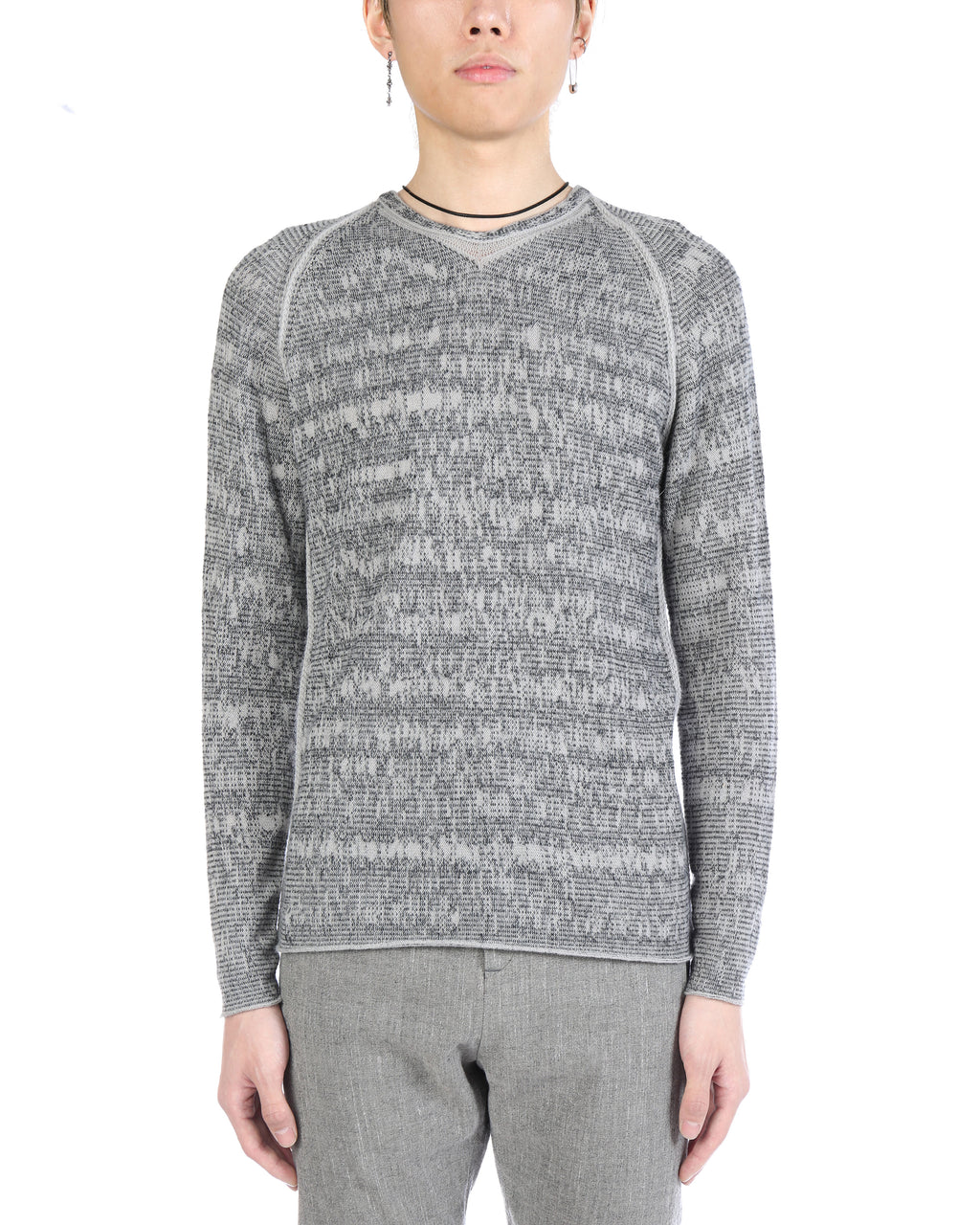 LABEL UNDER CONSTRUCTION MEN ZIPPED SEAMS BARCODE SWEATER