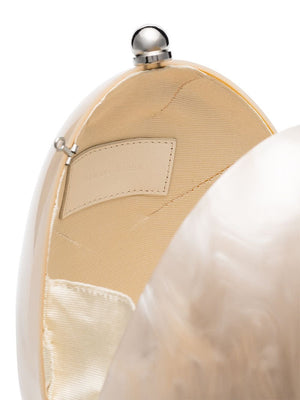 SIMONE ROCHA WOMEN HANDHELD PERSPEX EGG BAG WITH PEARL & CROSSBODY STRAP