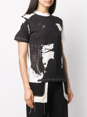 OFF WHITE WOMEN WHITE BRUSHSTROKES CASUAL TEE
