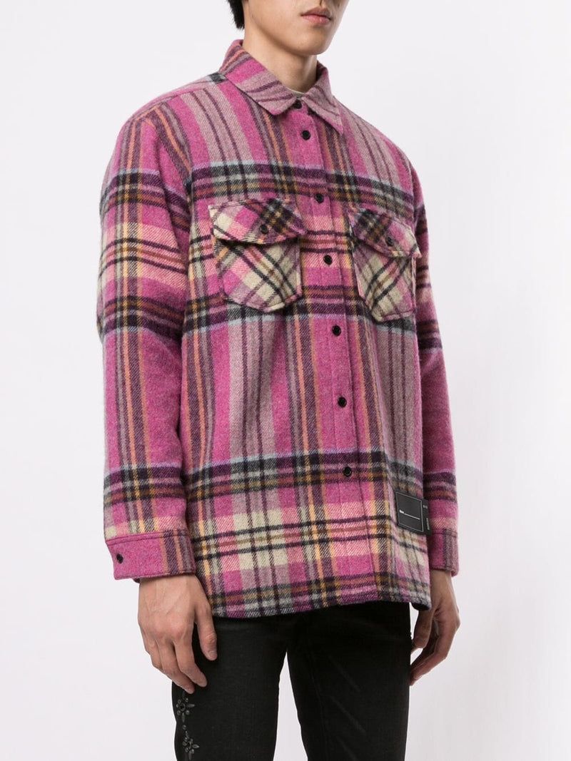 WE11DONE UNISEX PINK CHECK WOOL SHIRT