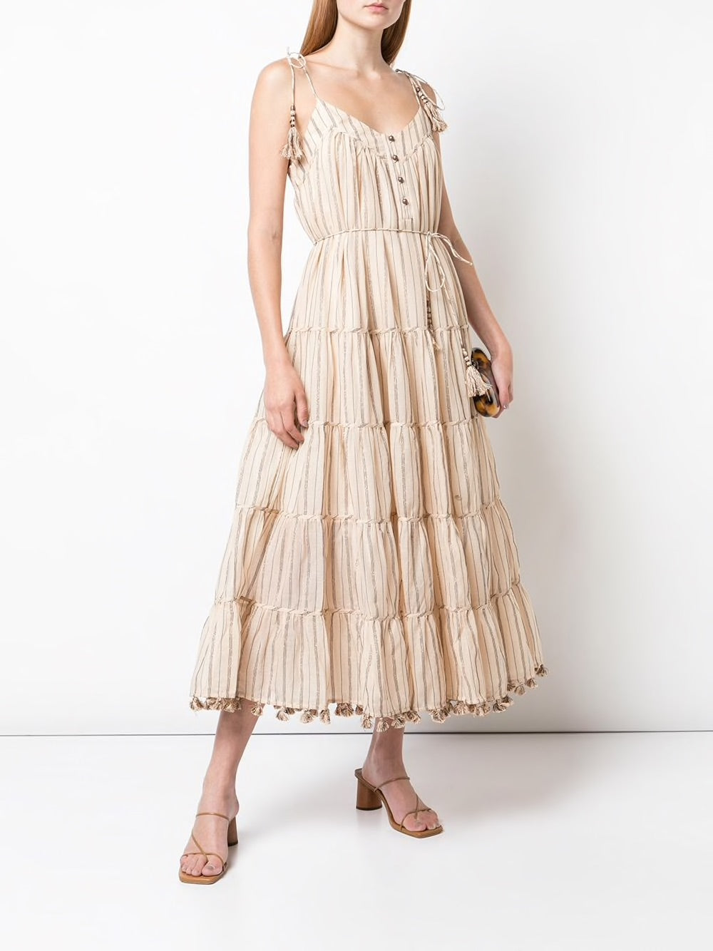 ZIMMERMANN WOMEN STRIPE TIE DRESS