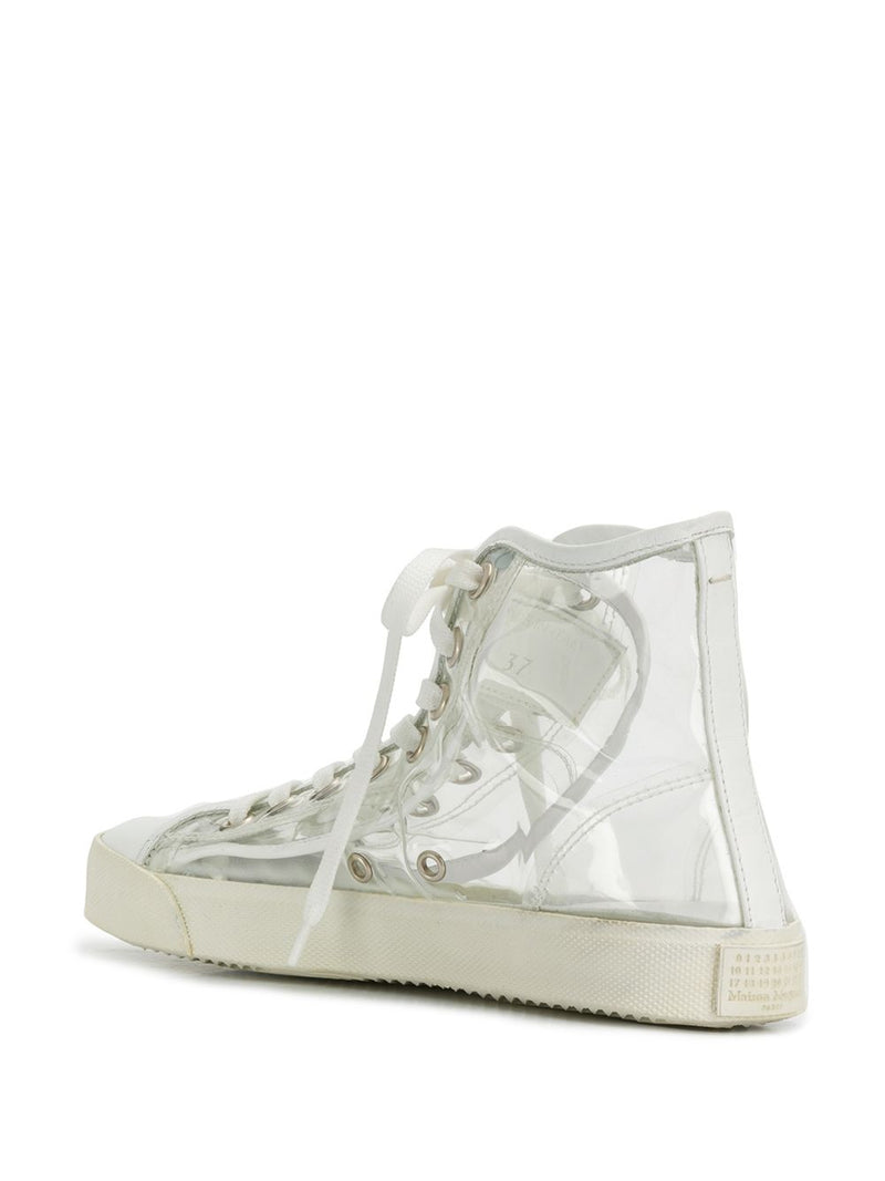 MAISON MARGIELA WOMEN TRANSPARENT HIGH TOP TABI SNEAKERS