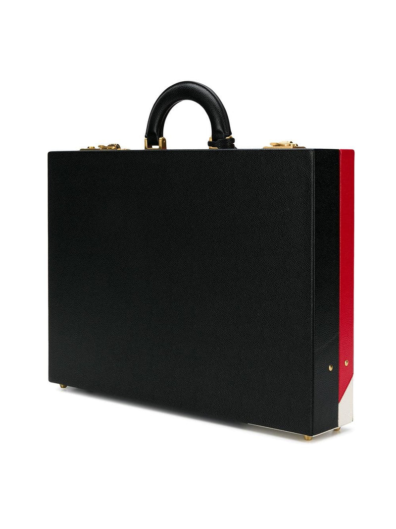 THOM BROWNE ATTACHE CASE IN BOLD DIAGNONAL RWB INTARSIA STRIPE PEBBLE GRAIN