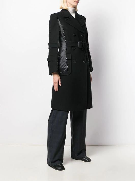 MAISON MARGIELA WOMEN EXPOSED STITCH BELTED COAT