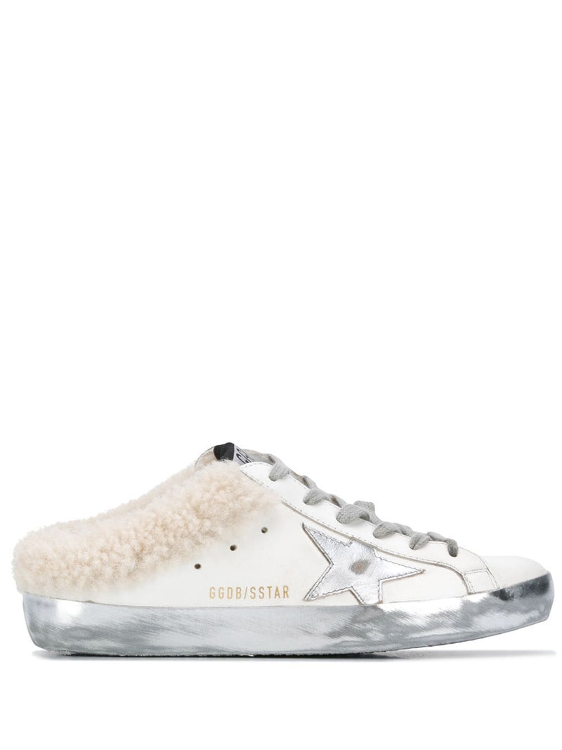 GOLDEN GOOSE WOMEN SABOT LEATHER UPPER LAMINATED STAR SHEARLING LINING SNEAKERS