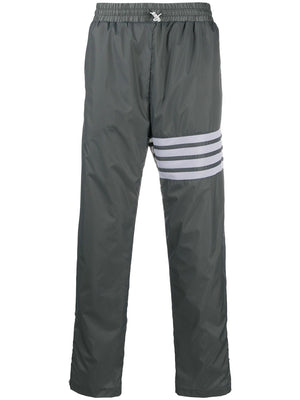 THOM BROWNE MEN STRAIGHT LEG TRACK PANTS W/ 4 BARIN SHEER RIPSTOP