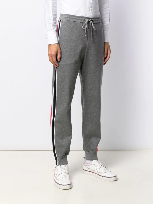 THOM BROWNE MEN TRACK PANTS W/ RWB STRIPE IN INTERLOCK