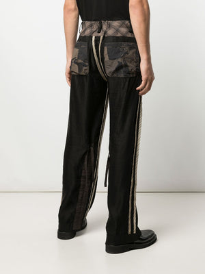 ZIGGY CHEN MEN INSIDE-OUT STRAIGHT-LEG TROUSERS