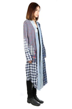 GREG LAUREN WOMEN PATCHWORK PLAID/VINTAGE DENIM STRIPE LONG KIMONO