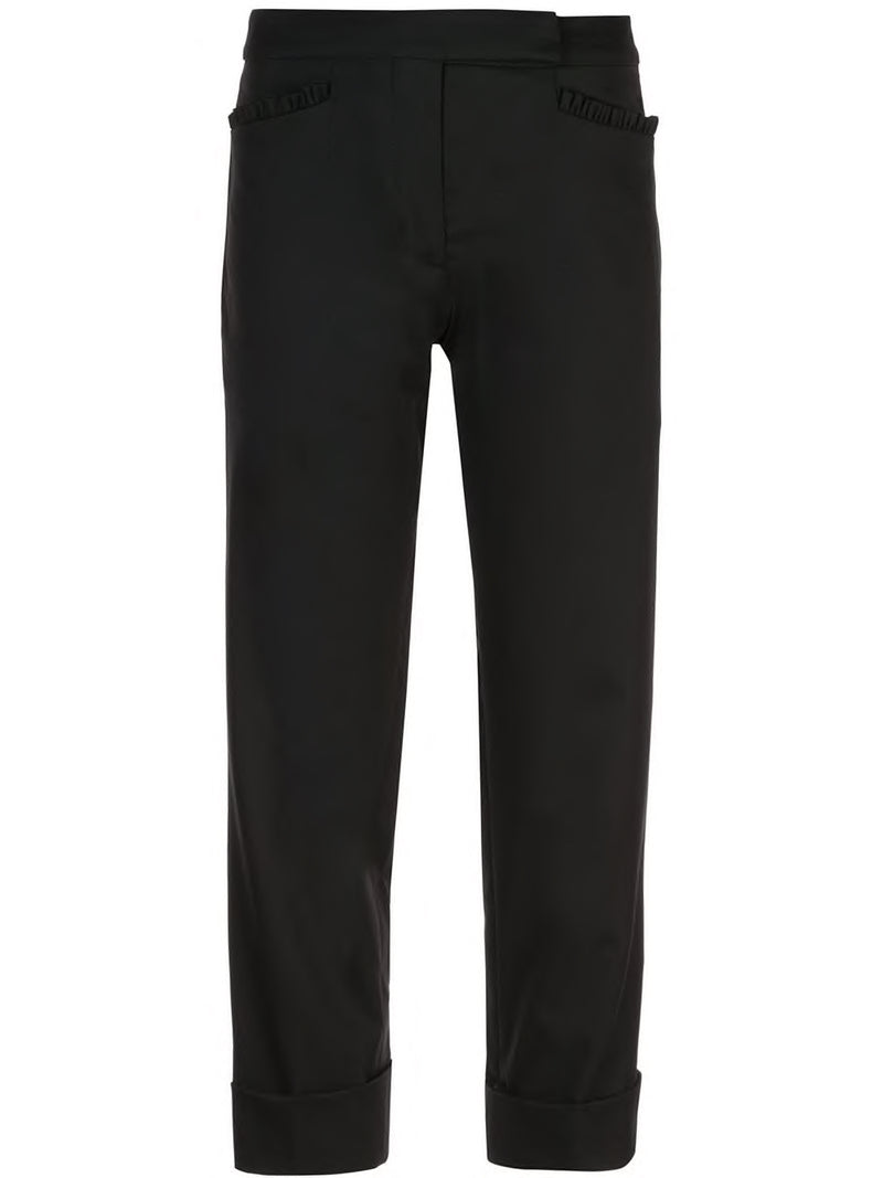 SIMONE ROCHA WOMEN STRAIGHT LEG TAILORED TROUSERS WITH FRILL POCKET