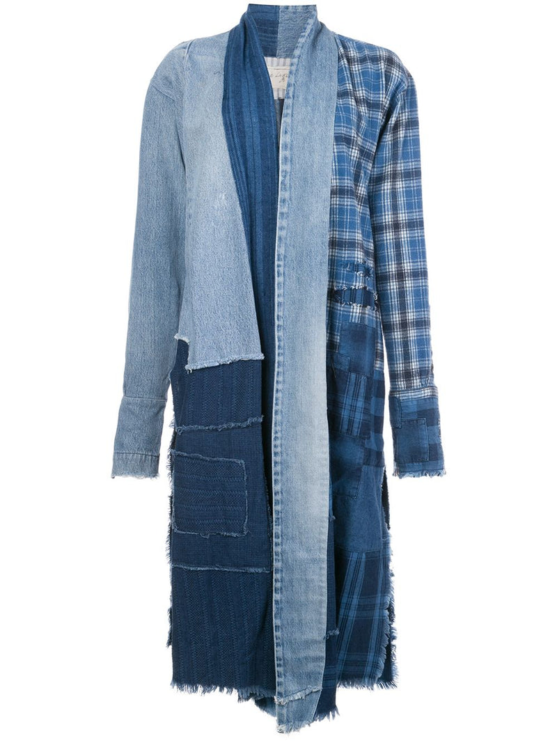 GREG LAUREN WOMEN INDIGO DENIM PATCHWORK KIMONO ROBE