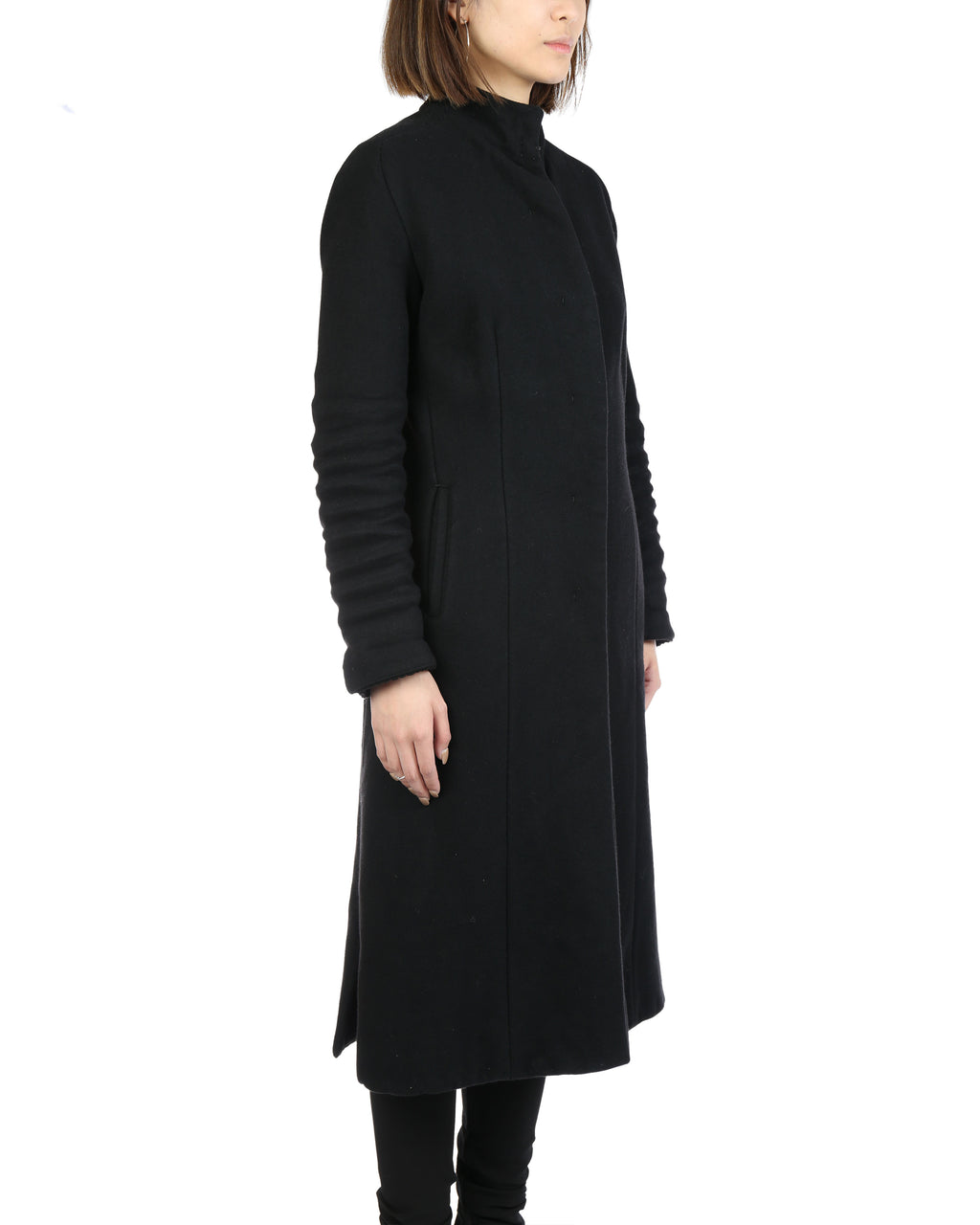 LAYER-0 WOMEN WOOL ANGORA BLEND TRENCH COAT