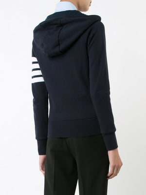 THOM BROWNE WOMEN ZIP UP HOODIE IN CLASSIC LOOP BACK WITH ENGINEERED 4 BAR