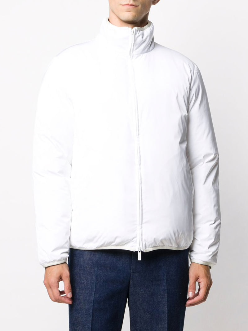 THOM BROWNE MEN RWB REVERSIBLE FUNEL NECK ZIP UP JACKET IN POLY TWILL